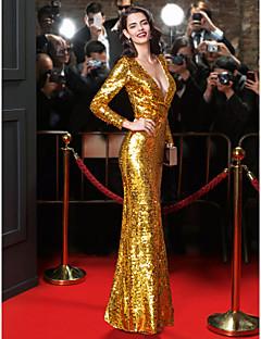 Vestido-Dourado Festa Formal Tubinho Decote V Longo Paetês