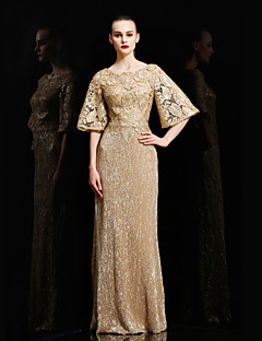 Formal Evening Dress - Gold Sheath/Column Bateau Floor-length Lace / Sequined