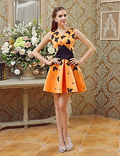 Cocktail Party Dress - Orange A-line V-neck Short/Mini Satin