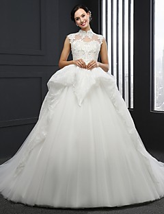 Ball Gown Wedding Dress - Ivory Chapel Train High Neck Tulle