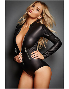 Plus Size M XL XXL Sexy Lingerie Leather Catsuit With Zipper Full Sleeve