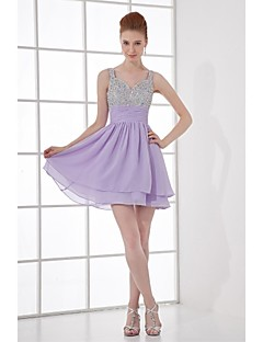 Lanting Bride® Short / Mini Chiffon Bridesmaid Dress A-line Straps with Beading