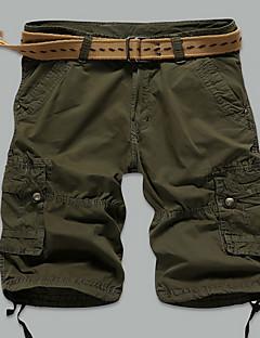 Masculino Shorts Masculino Cor Solida Casual Algodão