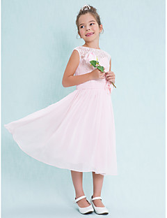 Lanting Bride® Tea-length Chiffon / Lace Junior Bridesmaid Dress A-line Scoop with Flower(s) / Lace