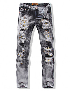 Plus Size High Quality Printed Men Jeans Fashion Male Unique Cotton Jeans Straight Fit Ripped Jeans