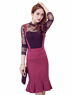 Women's Striped Red / Black Skirts , Plus Size / Casual / Day Knee-length
