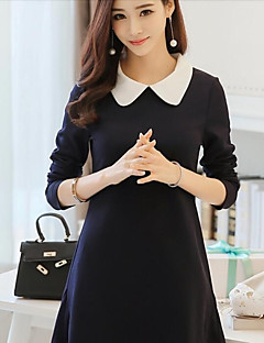 Women's Casual/Daily Simple Sheath Dress,Patchwork Notch Lapel Knee-length Long Sleeve Blue Cotton Spring