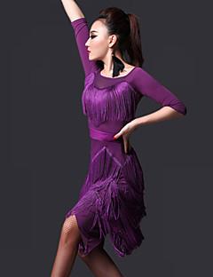 Latin Dance Dresses Women's Performance Chinlon Tassel(s) 2 Pieces Dress Shorts 85-100