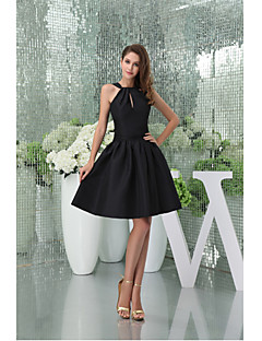 Cocktail Party Dress A-line Halter Knee-length Taffeta with Draping