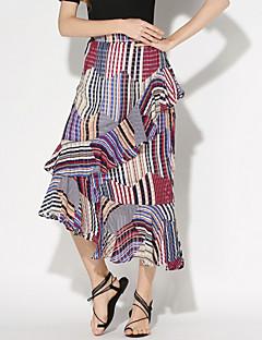 Women's Patchwork Multi-color Skirts,Holiday / Beach Asymmetrical Ruffle Fashion Slim Fishtail skirt Nylon/De chine