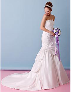 Lanting Trumpet/Mermaid Wedding Dress - Ivory Chapel Train Strapless Lace / Taffeta