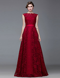Formal Evening Dress-Burgundy A-line Bateau Floor-length Lace / Satin