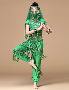 Dança do Ventre Roupa Crianças Actuação Chiffon Moedas de Ouro 6 Peças Caído Blusa Calças Máscara Braceletes Tiaras