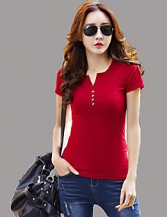 Women's Solid Red / White / Black T-shirt,V Neck Short Sleeve