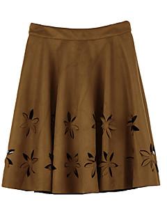 Women Faux Suede Skirt Hollow Flower High Waist Pleated A-Line Tutu Skirt