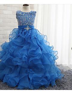 Ball Gown Floor-length Flower Girl Dress-Chiffon / Stretch Satin / Sequined Sleeveless
