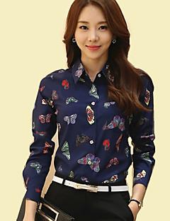 Women's Shirt Collar Butterfly Print Long Sleeve OL/Daily Chiffon Shirt