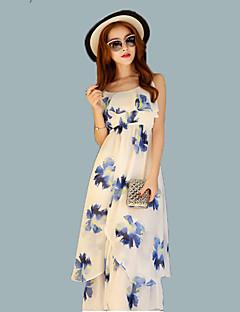 여성의 보호 쉬폰 드레스 프린트 미디 스트랩 폴리에스테르