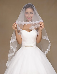 Wedding Veil One-tier Elbow Veils / Fingertip Veils Lace Applique Edge Tulle Ivory