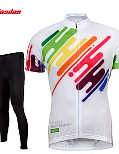 TASDAN חולצה וטייץ לרכיבה לגברים שרוול קצר אופניים נושם ייבוש מהיר 3D לוח רצועות מחזירי אור כיס אחורי תומך זיעהמכנסיים ג'רזי טייץ רכיבה
