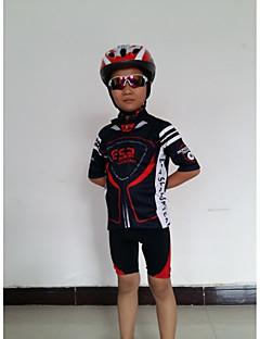 GETMOVING חולצת ג'רסי ומכנס קצר לרכיבה לילדים יוניסקס שרוול קצר אופניים מחממי זרוע ג'רזי מכנסיים קצרים מדים בסטיםעיצוב אנטומי נושם כיס