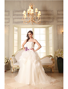 A-line Wedding Dress Court Train Strapless Cotton / Organza with Appliques / Flower / Sash / Ribbon