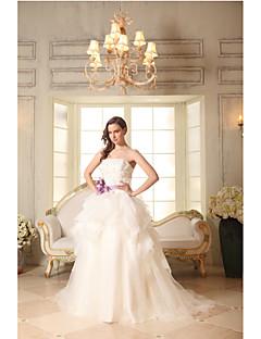 A-라인 웨딩 드레스 코트 트레인 끈없는 스타일 면 / 오간자 와 아플리케 / 꽃장식 / 허리끈 / 리본