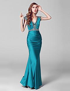 Evento Formal Vestido Sereia Decote V Longo Charmeuse / Paetês com Detalhes em Cristal / Lantejoulas