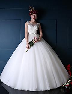 Princess Wedding Dress-Ivory Floor-length Scoop Tulle