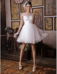 A-라인 웨딩 드레스 무릎 길이 스트랩 와