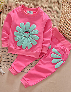 Girl's Black / Pink / Red / Yellow / Gray Clothing Set,Floral Polyester Spring / Fall