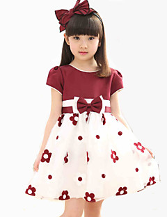 A-line Knee-length Flower Girl Dress - Chiffon / Lace / Stretch Satin Sleeveless Jewel with