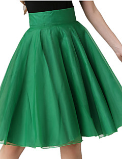 Spring Summer Women's 360 Big Swing Sheds Slim Cozy Ruched OL Work Casual Holiday Organza Skirt