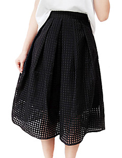 Women's Solid White / Black Skirts,Work / Casual / Day Knee-length