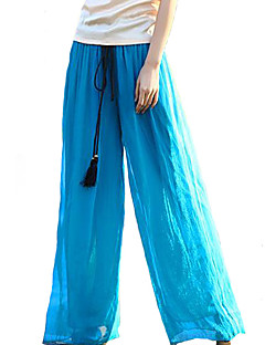 Women's Solid Blue / Pink / Red / Black / Green Wide Leg Pants,Boho / Holiday / Beach