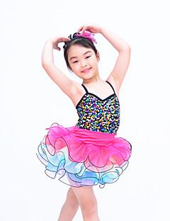 Danse classique Tenue Enfant Spectacle Organza Paillété Lycra Volants Robe pan volant Sans manche Taille moyenne