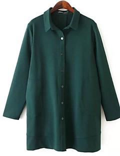 Langermet Skjorte Skjortekrage Ensfarget Polyester Kvinner