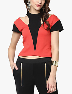 Women's Color Block Red / Black T-shirt,Round Neck Sleeveless