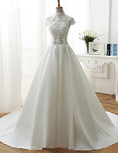A-line Wedding Dress-Ivory Court Train High Neck Lace / Satin / Tulle