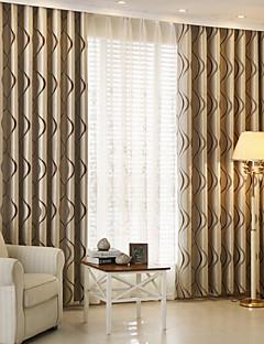 zwei Panele Modern Streifen Kaffee Kinderzimmer Polyester Verdunklungsvorhänge Vorhänge