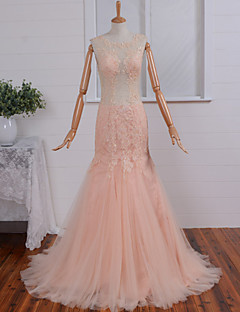 Formal Evening Dress-Pearl Pink Trumpet/Mermaid Scoop Court Train Lace / Tulle