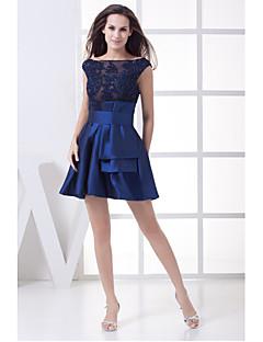Coquetel Vestido Linha A Decote em U Curto / Mini Cetim com Apliques / Miçangas / Faixa / Fita
