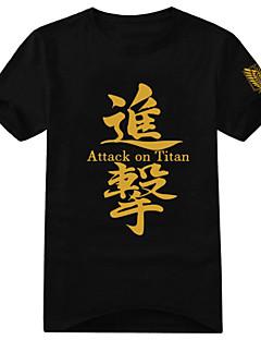 Inspirovaný Attack on Titan Eren Jager Anime Cosplay kostýmy Cosplay T-shirt Tisk Czarny Krátké rukávy Trička