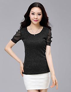 Kortermet T-skjorte Rund hals Netting Polyester / Spandex Kvinner