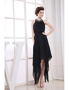 Cocktail Party Dress-Black Sheath/Column Jewel Tea-length Chiffon