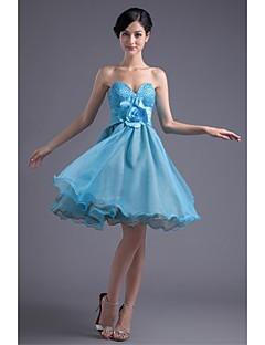 Brautjungfernkleid-Blau Organza / Stretch Satin-Prinzessin-Knie-Länge-Trägerlos
