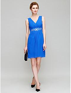 Sheath/Column Mother of the Bride Dress - Royal Blue Short/Mini 3/4 Length Sleeve Chiffon