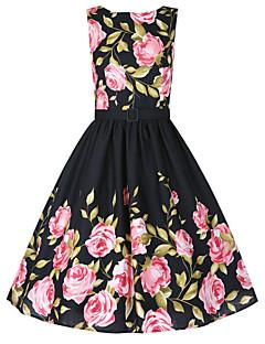 Women's Plus Size Vintage Skater Dress,Floral Round Neck Knee-length Sleeveless Black Cotton Fall