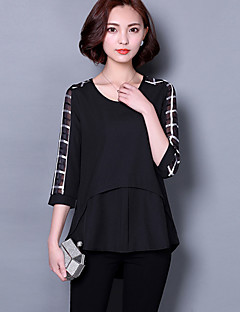 Women's Casual/Daily Vintage / Street chic All Seasons Blouse,Patchwork Round Neck ¾ Sleeve Black Polyester Thin
