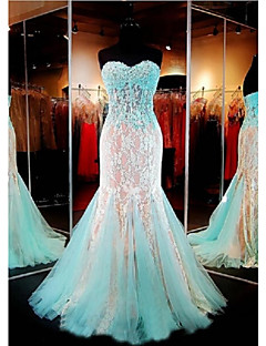 Formal Evening Dress Trumpet / Mermaid Sweetheart Floor-length Lace / Tulle with Appliques / Beading / Lace / Sequins
